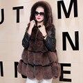 Плюс Размер Мех Пальто Женщин Лисий Мех Куртка Пальто Парка женский Лиса Шубу Индивидуальный Рукав Зима Натурального Меха Верхняя Одежда Нью-