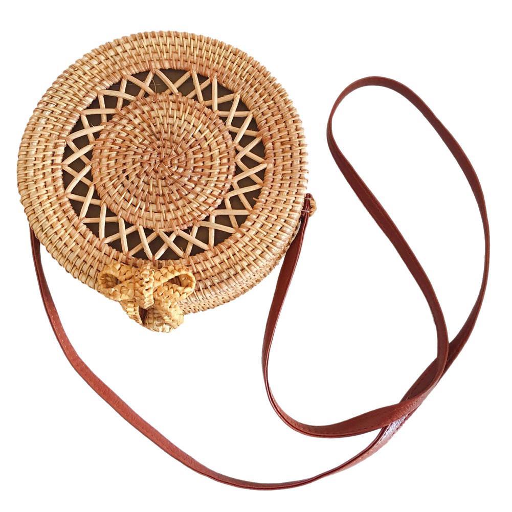 Handmade Rattan Weaving Round Cutout Bag Beach Bag Vintage Home Storage Bag