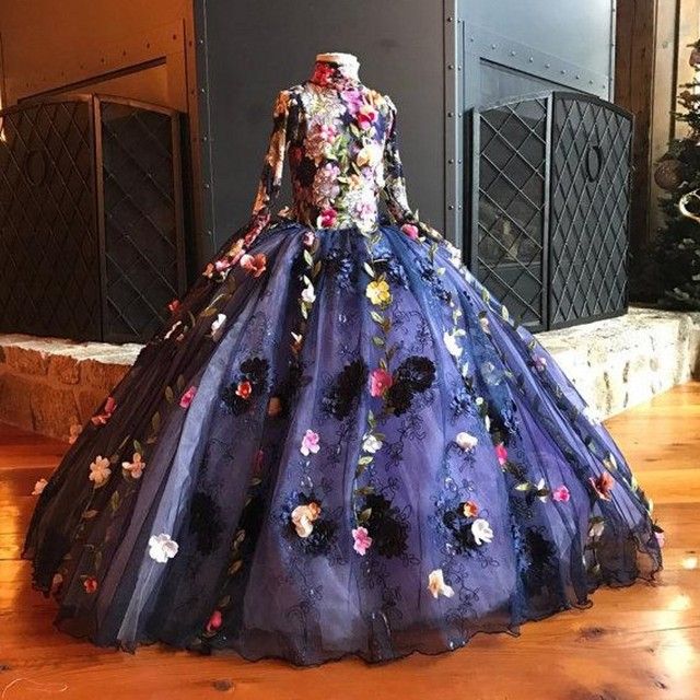 d84bcefe38f Navy Blue Flower Girls Dresses For Weddings Full Sleeves robe fille Flowers  Lace Tulle Girls Pageant Gowns 3D Floral Custom Made