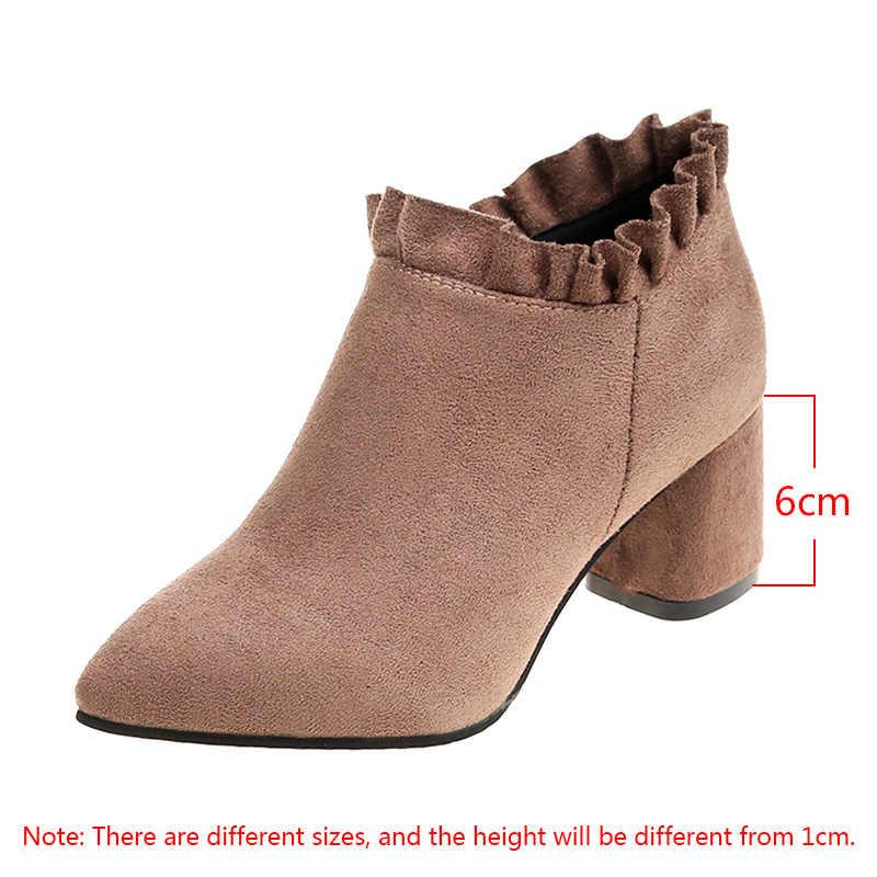 Kış botları kadın düşük topuklu çizmeler siyah yarım çizmeler kadın sahte süet patik tasarım ayakkabı botas mujer invierno 2019