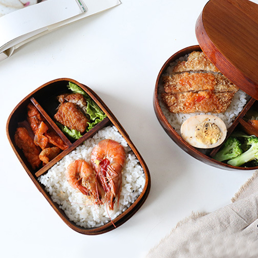 Japanese Style Portable Wooden Tableware Single-layer <font><b>Lunch</b></font> <font><b>Box</b></font> Portable Outdoor Picnic Tableware Safety For Kids Bento <font><b>Box</b></font> image