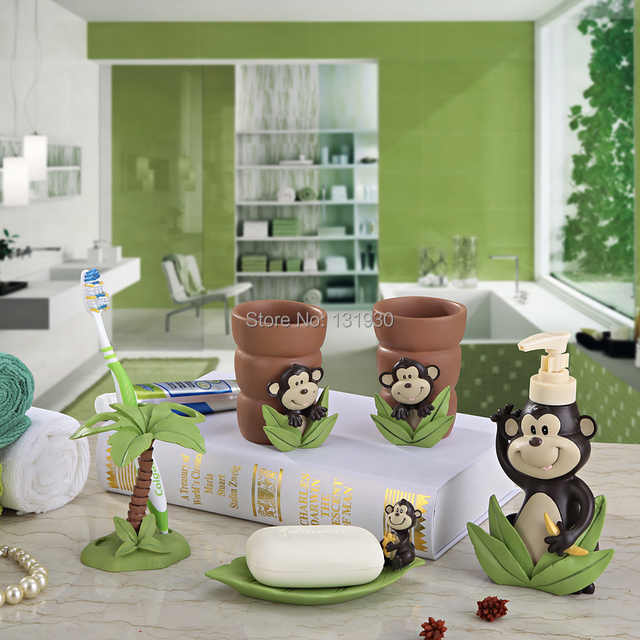 Lovely monkey bath set eco friendly resin cartoon 5 pieces bath accessories high class sanitary ware HZ 5-in Bathroom Accessories Sets from Home & ...