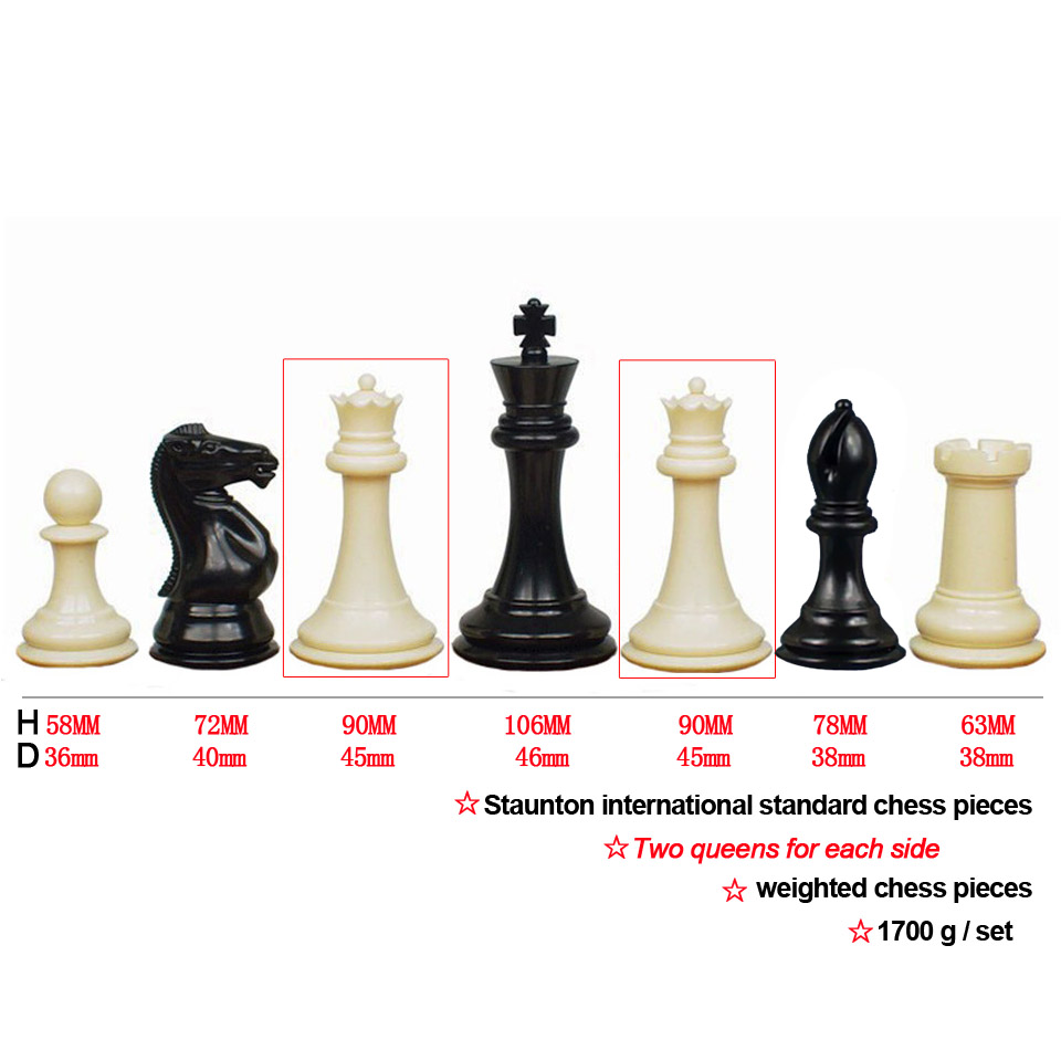 King Height 106mm Staunton 4 queens International Standard Chess Pieces Weighted Chess Set for Kids Adult