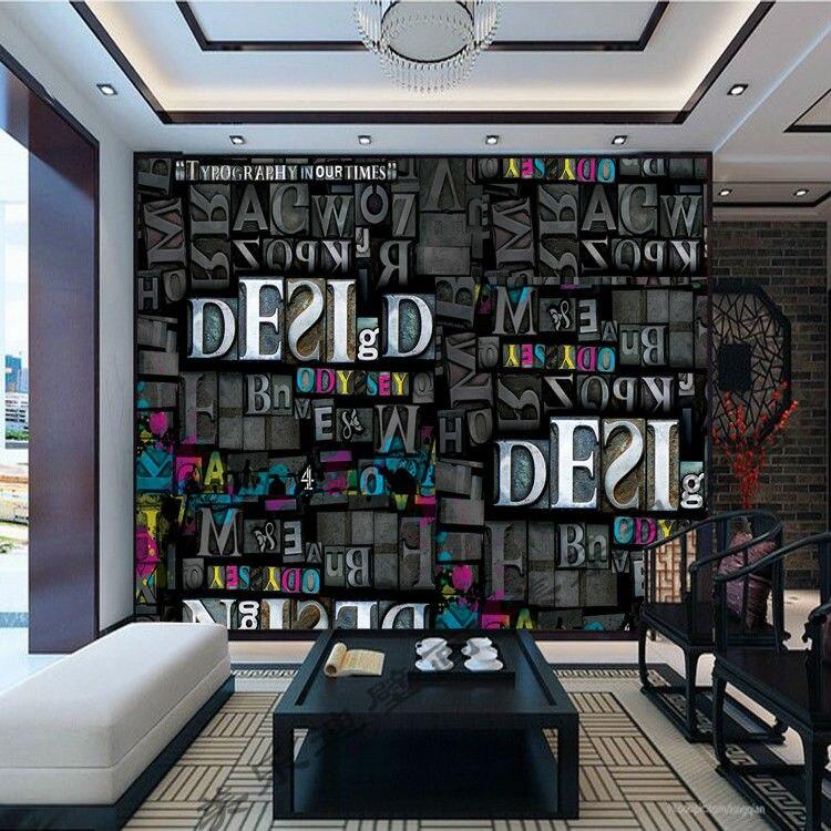 Buy personalized custom photo wallpaper 3d letters wall mural wallpaper kid - Bar room decor ...