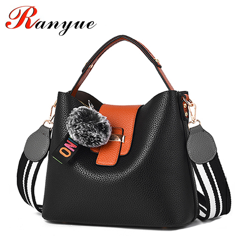 RANYUE Shoulder Bags For Women Leather Luxury Handbags Fur Ball Tote Bag Women Bucket Bag With Fur Ladies Bolsas Femininas 2017 luxury famous brand women female ladies casual bags leather hello kitty handbags shoulder tote bag bolsas femininas couro