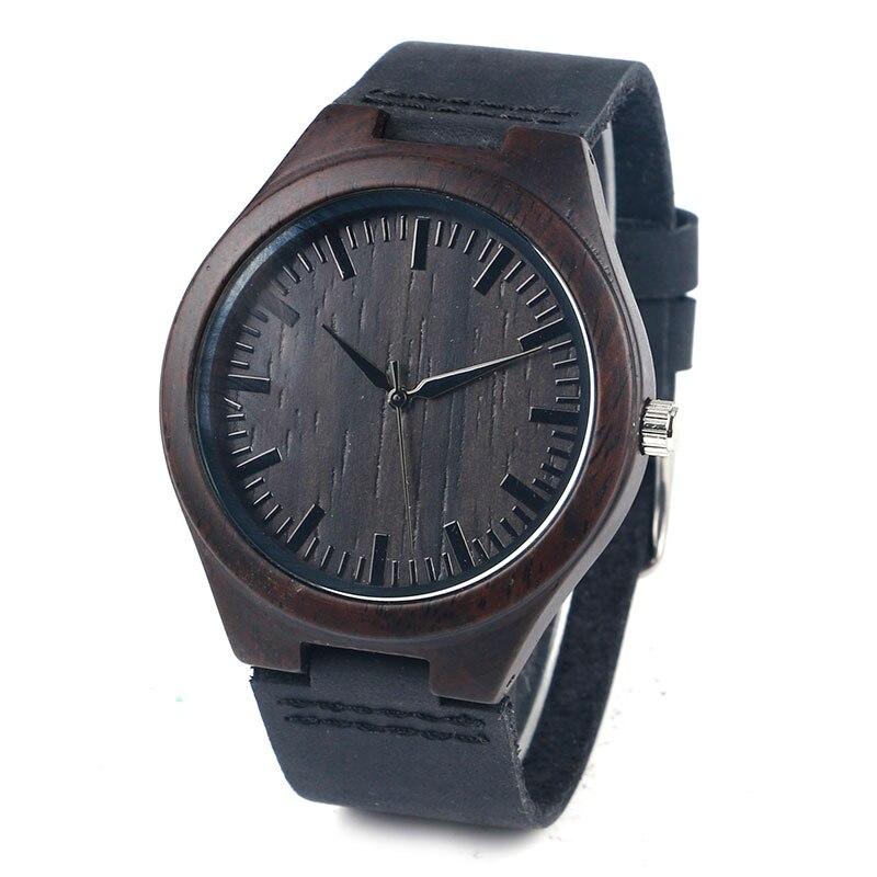 Fashion Genuine Leather Band Strap Bamboo Analog Men Nature Wood Modern Wrist Watch Gift Minimalist Women Trendy Simple Male