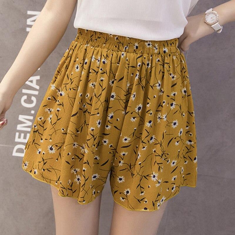 Femme Summer   Shorts   Floral Vintage Printed Harajuku   Short   Wide Leg Chiffon Loose   Shorts   Mujer Casual Bermuda Feminina