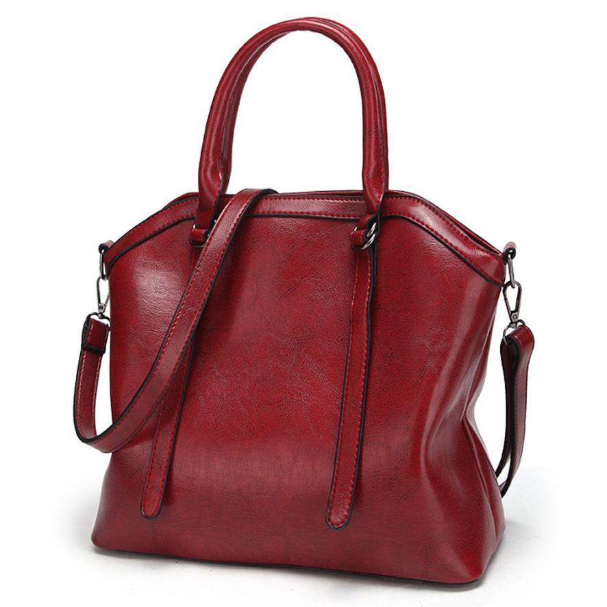 Женская Мода из искусственной кожи масло воск кожаная сумка через плечо сумка Для женщин Сплошной Цвет сумка на молнии сумка # F