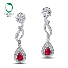 Caimao Jewelry 18KT White Gold 4x6mm Pear Cut 1 01ct Ruby 0 45ct Diamond Engagement Earrings