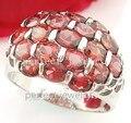 Anillo de granate Envío libre Real granate Natural 0.3ct * 19 unids gemas anillo de plata de ley 925 Para los hombres o las mujeres estilo de Lujo del anillo