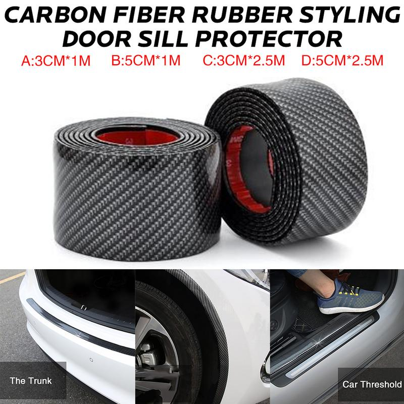 Car Stickers Carbon Fiber Rubber Styling Door Sill Protector Goods For Hyundai Santa Fe i40 Creta Tucson HB20 ix20 ix25-in Car Stickers from Automobiles & Motorcycles