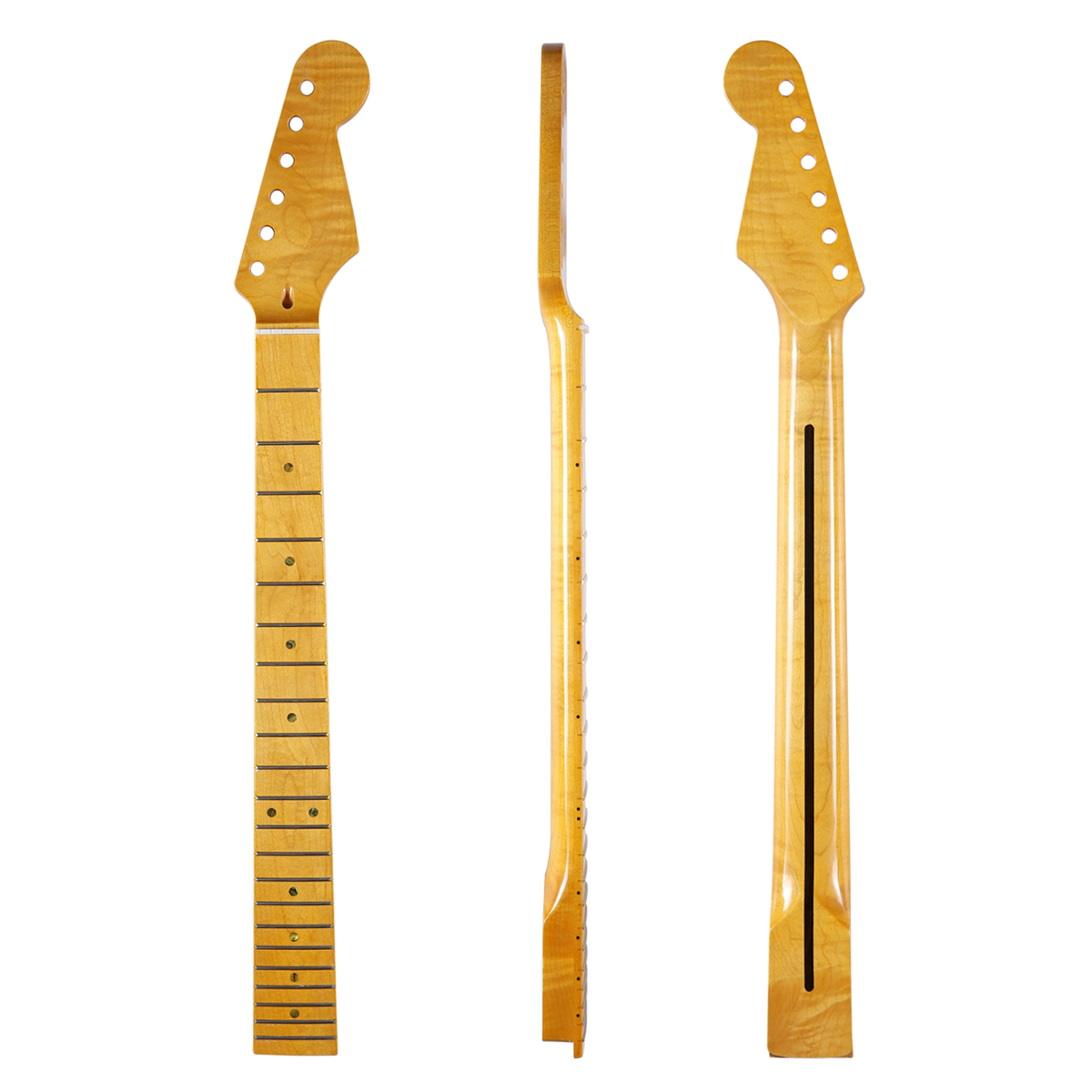 High quality 22 Fret Glossy Canadian Tiger Flame Maple Strat Guitar Neck with Abalone Shell Inlay Bone Nut for Stratocaster dopro 22 fret canadian highly tiger flamed maple strat neck with rosewood fingerboard abalone inlay bone nut for stratocaster