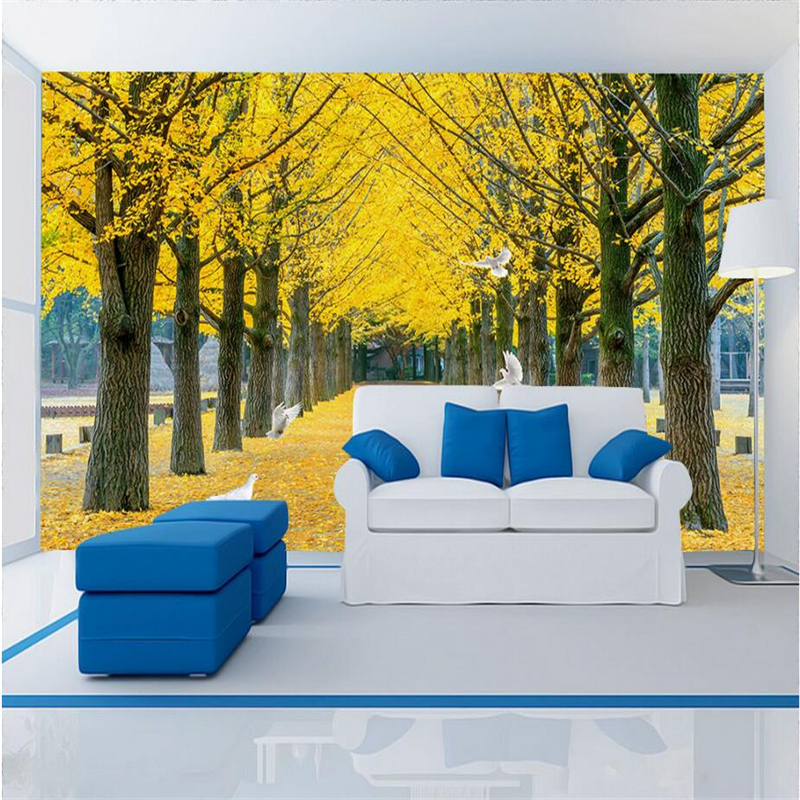 Gold Wallpaper Aisle Trees Trail Wallpapers for Walls Modern 3d Wallpaper TV Background Study Kitchen Wall Mural Wallpaper flame trees of thika