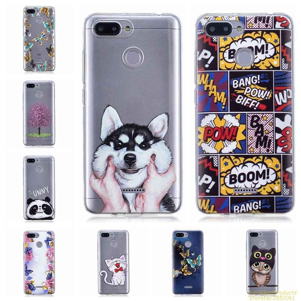 aba6ac16f64 silicone case for Xiaomi RedMi 6 fundas hoesje Cute funny cartoon dog cat  owl panda boom