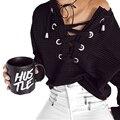Desenhos de moda Lace Up Moletom Com Capuz Mulheres Outono botão de manga comprida Camisola de Treino 2016 de algodão harajuku Pulôver tops plus size