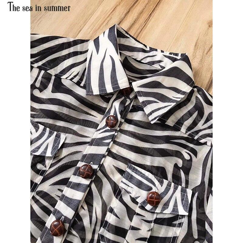 Blusa Las El Beige Mujeres Diseñador De Mar Corta Impreso negro Calle La 2019 En Manga Pista Top Moda Verano Cuello ww1FTq8