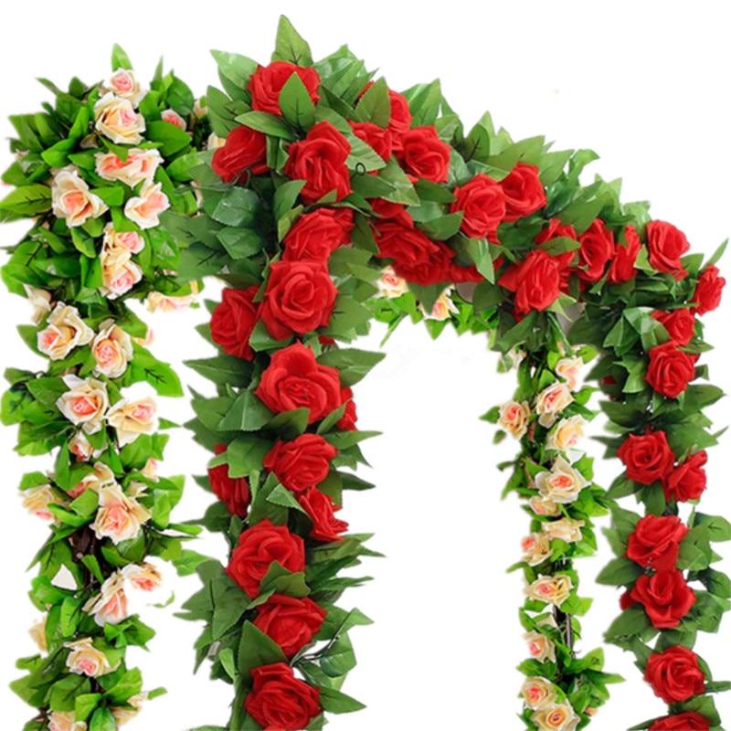 2pcs / bag - 2.4m 인공 실크 장미 꽃 아이비 그린 리프 덩굴 화환 웨딩 화환 가짜 꽃 홈 데코