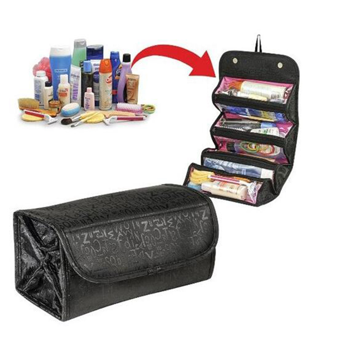 New style Practical High Quality Cheap Roll Cosmetics Organiser Makeup Bag Toiletries Pocket Compartment Travel Bags bag in bag organizer