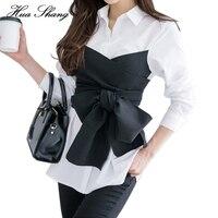 2017夏の韓国ファッションネクタイシャツブラウス女性黒弓長い袖白シャツolレディーオフィスシャツプラスサイズ女性トップ