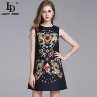 LD LINDA DELLA Fashion Designer Runway Summe Dress Women S Sleeveless Vintage Black Print Button Beading