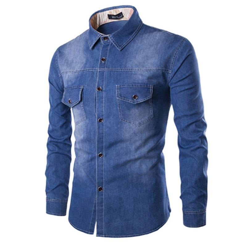 Primavera del 2018 degli uomini Snap-front Long Sleeve Denim Casual Camicie Morbido Cotone 100% A due Tasche Slim-fit Leggero Elastico Jeans Camicia