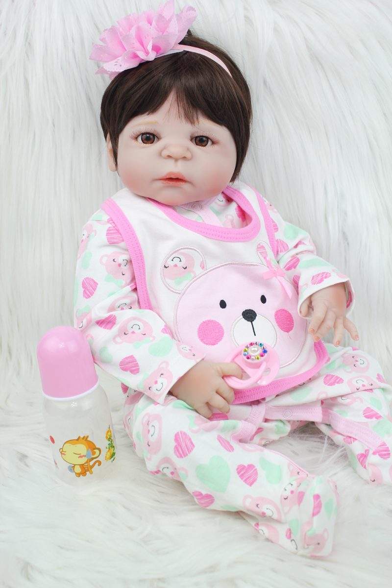 55cm Full Silicone Body Reborn Girl Baby Doll Toys 22inch Newborn Princess Toddler Babies Doll Birthday Gift Child Bathe Toy 55cm full silicone body reborn baby doll toys like real 22inch newborn boy babies toddler dolls birthday present girls bathe toy