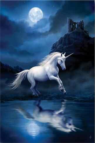 بيغاسوس يونيكورن الحصان القمر السحر الخيال الفن جدار ديكور الحرير طباعة المشارك