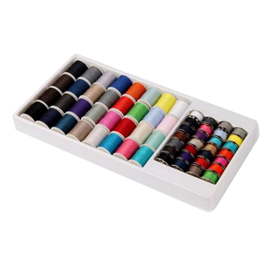 60 Pieces Assorted Sewing Machine Thread Kit Set Sewing Machine Spool Bobbin Kit Reel Hand Sewing Thread