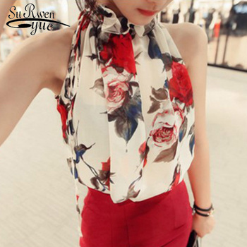 print chiffon sexy sleeves Strapless halter women's clothing blusas