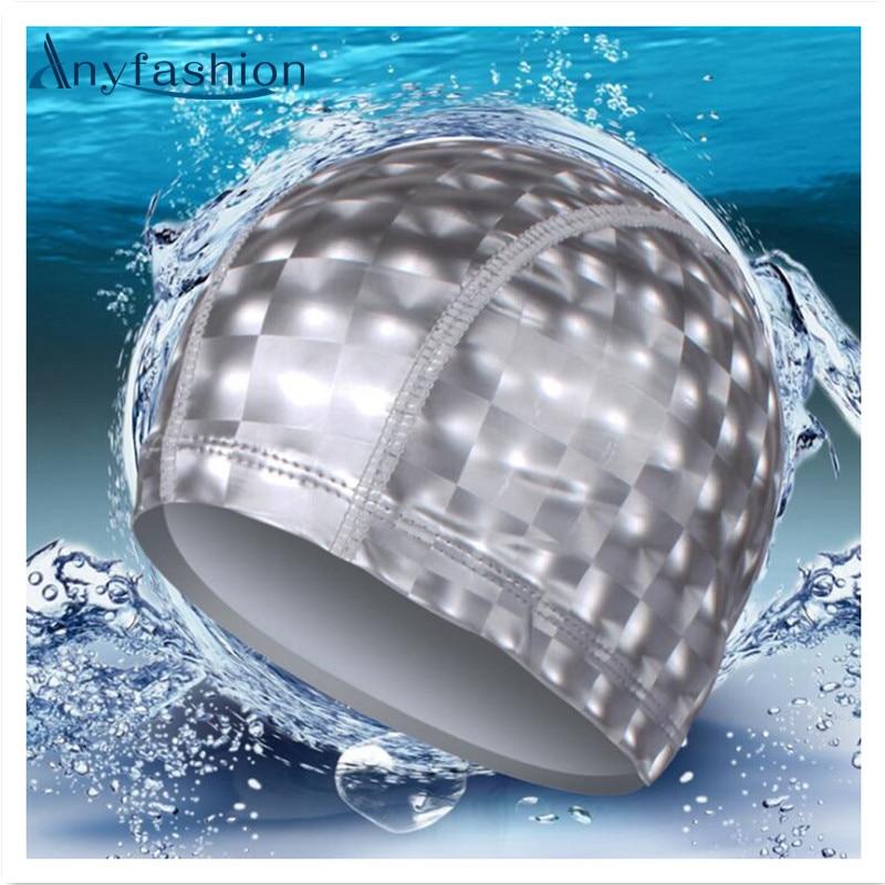 New Elastic Waterproof Pu Fabric Protect Ears Long Hair Sports Swim Pool Hat Swimming Cap Free