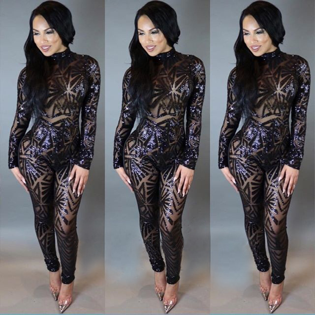 182b4196e7e Fine design ladies rompers women jumpsuit sequin bodysuit women slim  package bodycon jumpsuit N252