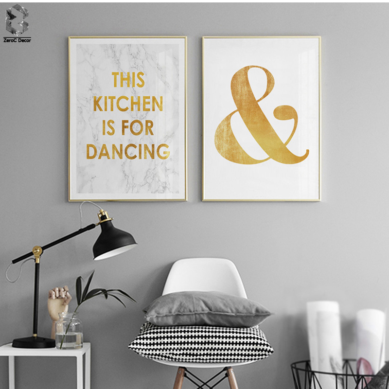 ZeroC Posters And Prints Wall Art Canvas Painting Gold Letter Wall Pictures For Living Room Nordic Marble Picture Decoration in Painting Calligraphy from Home Garden