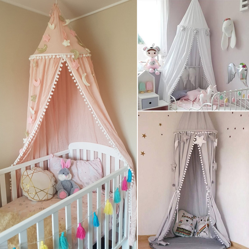 US $22.79 43% OFF|Kids Bed Canopy Curtain Children Play Tent House Girl  Princess Round Dome Canopy Baby Crib Cot Hanging Tent Baby Room  Decoration-in ...