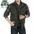 AFS JEEP 5XL 6XL 7XL Plus to M Men's 100% Cotton Summer Autumn 2016 Cargo Vest,Original Brand Casual Patchwork Resist Outwear