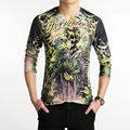 3D Print 2016 Mens T Shirts Fashion New V-Neck Slim Fit Long Sleeve Skull 3D T Shirt Mens Casual Personality Cotton T-Shirt 5XL
