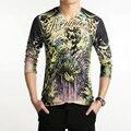3D Print 2016 hombre de las camisetas de la moda de nueva v-cuello Slim Fit de manga larga cráneo 3D T Shirt Mens Casual personalidad camiseta de algodón 5XL