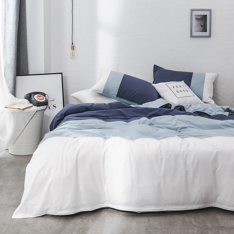 Blue White Bedding Set Twin Queen King Size Cotton Bed Sheet Fitted Sheet Bed Cover Set Duvet Cover Soft Bedclothes Pillowcase