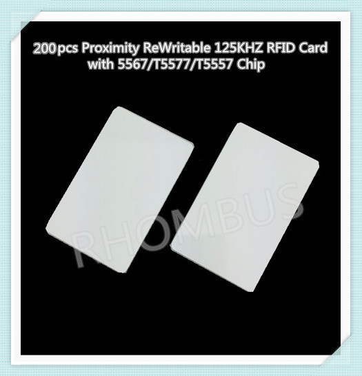 200pcs/lot Proximity ReWritable 125KHZ RFID Card with 5567/T5577/T5557 Chip