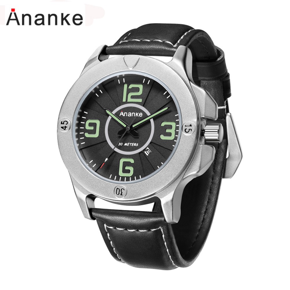 Ananke Luxury Brand Men Watches Leather Business Men's Watch Male Clock Fashion Quartz Watch Relogio Masculino