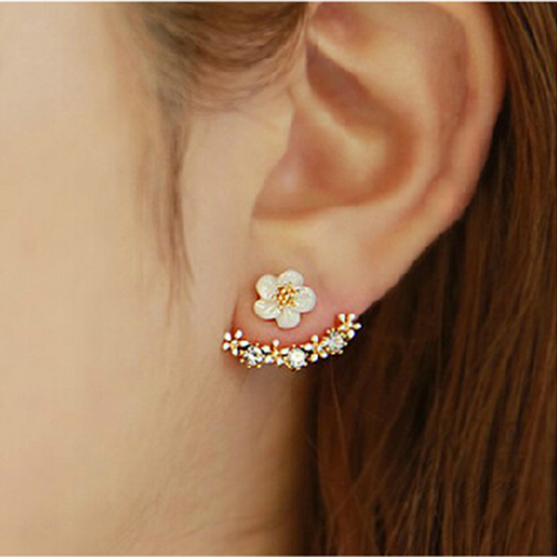 2018 Fashion Jewelry Cute Cherry Blossoms Flower Stud Earrings For Women Cute Jewelry Several Peach Blossoms Earrings