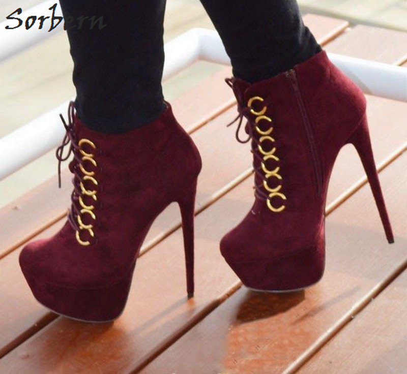 Ankle Boots For Women 2017 Winter Boots Plus Size 34-47 Lace Up Thin Heels Botines Mujer Womens Fashion Boots Botas De Mujer commercial use non stick lpg gas japanese takoyaki octopus fish ball maker iron baker machine page 3