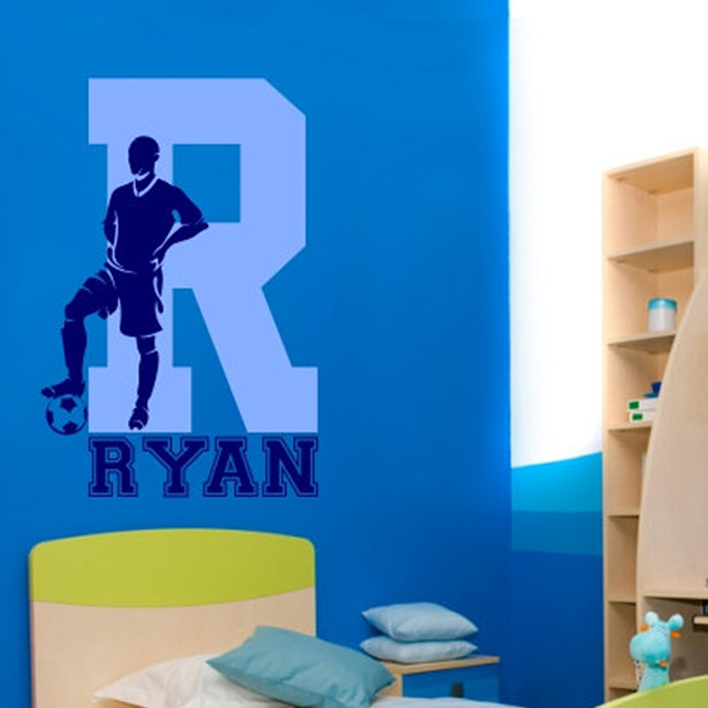 Soccer Football Wall Decal With Personalized Name And Initial Wall Sticker  For Kids Baby Room Bedroom