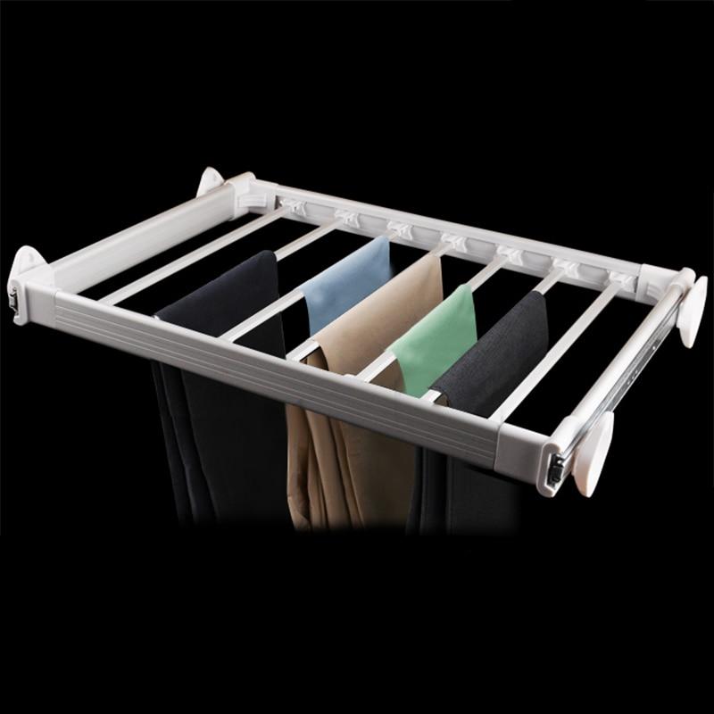 Thickened telescopic trousers rack hanging rod top cabinet push pull trousers rack multipurpose antiskid trousers rack brackes