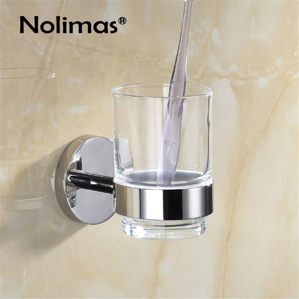 Bathroom Single Toothbrush Glass Cups Holder Mirror Polished SUS304 Stainless Steel Toorhbrush Cup Holders Bathroom Accessories toothbrush holder wall mounted square base 304 stainless steel and copper toothbrush holders with glass cups polished chrome