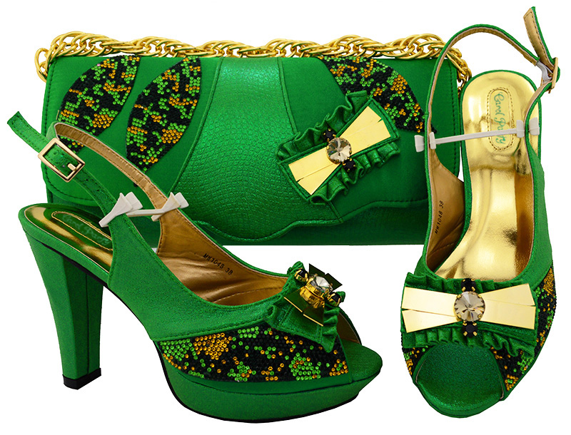 New Green color Italian Style Shoes With Matching Bags African High Heel Women Shoes and Bags Set For Prom Party MM1048 aidocrystal luxury handmade crystal sunflower high heel women italian shoes with matching bags