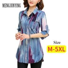 Блузка 2017 мода на печать женщины м-5ксл плюс размер длинного рукавка тонкая блузка работа носит рубашки, верхняя блусас самка