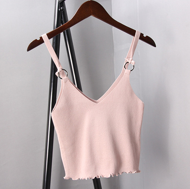 1e579a0509a558 Solid White Black Gray Spaghetti Strap Knit Crop Tops Women Sexy V-neck  Bustier Cami Tank top 2017 Summer Blusa Cropped