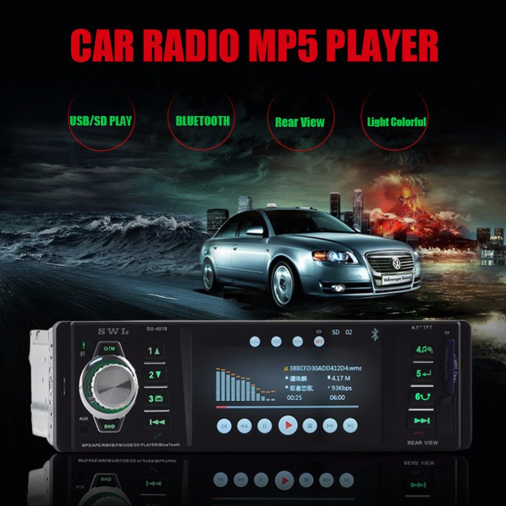 ФОТО Bluetooth Stereo Car Radio MP5 MP3 FM Player In-Dash Auto Audio AUX USB Remote Control
