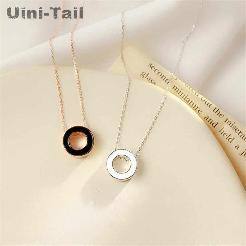Uini-Tail hot new 925 sterling silver personality circle necklace exquisite simple and elegant black and white temperament