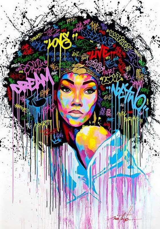 Spray pittura graffiti art dreaming ragazza addormentata fox su pittura a olio su tela per la decorazione domestica e wall art poster, galleria